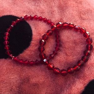 Jewelry - Set of red beaded bracelets